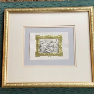 Gold double matted framed cherubs flying photo